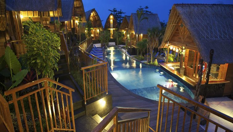 Bungalows by night at Hidden Valley Resort